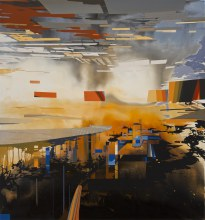 "Watercourse Bypass 	45"" x 42"" 		acrylic on panel	2012"