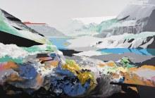 "Open Land Projection 47"" x 74"" acrylic on panel2011"