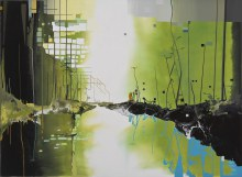 """Particulate Basin 22"""" x 30""""  acrylic on panel 2012"""