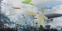 """Geosyncline Relief 47"""" x 93""""  acrylic on panel2012"""