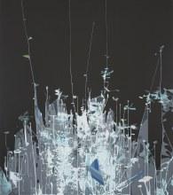 "Crystalline Outgrowth 43"" x 38"" acrylic on panel 2018"