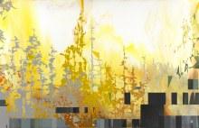 """Sunburst Radiant 22"""" x 34"""" acrylic on panel 2014"""