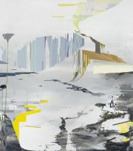 """Terraform Floodplain 43"""" x 38"""" acrylic on panel 2014"""